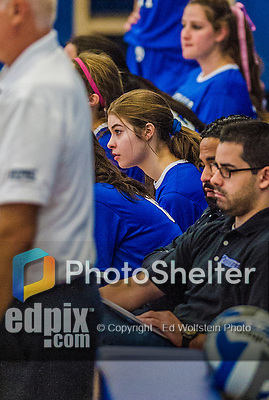 27 October 2013: Yeshiva University Maccabee Setter Shana Wolfstein watches play during a Skyline Conference game against the Purchase College Panthers at the College of Mount Saint Vincent in Riverdale, NY. The Panthers defeated the Maccabees 3-0 in NCAA women's volleyball play. Mandatory Credit: Ed Wolfstein Photo *** RAW (NEF) Image File Available ***