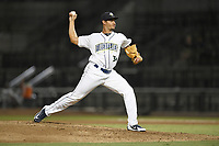 Relief pitcher Darwin Ramos (34) of the Columbia Fireflies delivers a pitch during a game against the Charleston RiverDogs on Wednesday, August 29, 2018, at Spirit Communications Park in Columbia, South Carolina. Charleston won, 6-1. (Tom Priddy/Four Seam Images)