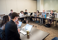 New York Times Roundtable meeting, a freewheeling discussion of the previous week's news coverage in the Times, in the Young room of the Johnson Student Center, Nov. 21, 2017.<br /> As was the case last year, this is a standing invitation to all students to join Oxy President Jonathan Veitch and Occidental Weekly Adviser and former Los Angeles Times Executive News Editor Barbara Thomas for lunch and a lively conversation.<br /> Any interested student is invited to join us. Identify one or more Times articles during the week that have perplexed, angered or interested you. Last year's sessions resulted in interesting discussions about various articles, the issues involved, and the ways in which the Times chose to cover them.<br /> (Photo by Marc Campos, Occidental College Photographer)