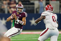 Hawgs Illustrated/Ben Goff<br /> Kellen Mond, Texas A&M quarterback, in the 3rd quarter vs Arkansas Saturday, Sept. 29, 2018, during the Southwest Classic at AT&T Stadium in Arlington, Texas.