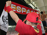 19 June 2006: A young Spain fan celebrates a goal. Spain played Tunisia at the Gottlieb-Daimler Stadion in Stuttgart, Germany in match 31, a Group H first round game, of the 2006 FIFA World Cup.