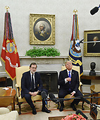 United States President Donald J.Trump (R) meets with Prime Minister Mariano Rajoy of Spain in the Oval Office of The White House September 26, 2017 in Washington, DC. <br /> Credit: Olivier Douliery / Pool via CNP
