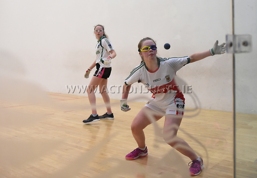 19/03/2018; 40x20 All Ireland Juvenile Championships Finals 2018; Kingscourt, Co Cavan;<br /> Girls Under-17 Singles; Mayo (Claire Reynolds) v Limerick (Aisling Shanahan)<br /> Photo Credit: actionshots.ie/Tommy Grealy