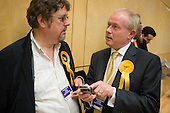 Liberal-Democrat Council Leader Keith Moffit talks with a supporter as Labour defeats the ruling Lib-Dem Conservative coalition in the Camden Council local elections 2010.