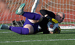 Rosati-Kain goalkeeper Analiese Wilmsmeyer makes a diving save on a Notre Dame shot on goal. Notre Dame High School (Cape Girardeau) defeated Rosati-Kain in the Class 2 girls quarterfinal game played at St. Louis University High School in St. Louis, MO on Wednesday May 22, 2019.<br /> Tim Vizer/Special to STLhighschoolsports.com