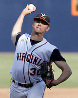 Virginia pitcher Connor Jones (30) throws the ball during the game against James Madison University Tuesday in Charlottesville, VA.  Photo/The Daily Progress/Andrew Shurtleff