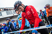 Picture by Alex Whitehead/SWpix.com - 03/02/2018 - Cycling - 2018 UCI Cyclo-Cross World Championships - Valkenburg, The Netherlands - Great Britain's Nikki Brammeier prepares to compete in the Elite Women's race.