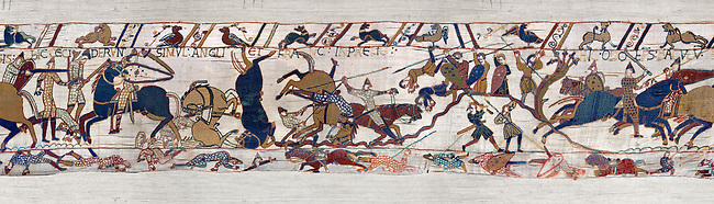 11th Century Medieval Bayeux Tapestry - Scene 53 - The battle of Hastings rages on. Scene 54 -  Williams brother Bishop Odon encourages the Norman soldiers to fight. Battle of Hastings 1066