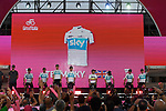 Team Sky on stage at the Team Presentation before the 101st edition of the Giro d'Italia 2018. Jerusalem, Israel. 3rd May 2018.<br /> Picture: LaPresse/Fabio Ferrari | Cyclefile<br /> <br /> <br /> All photos usage must carry mandatory copyright credit (&copy; Cyclefile | LaPresse/Fabio Ferrari)