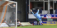 Yeovil Town keeper Artur Krysiak is unable to stop Stephen O'Donnells goal from going in during the Sky Bet League 2 match between Luton Town and Yeovil Town at Kenilworth Road, Luton, England on 13 August 2016. Photo by Liam Smith.