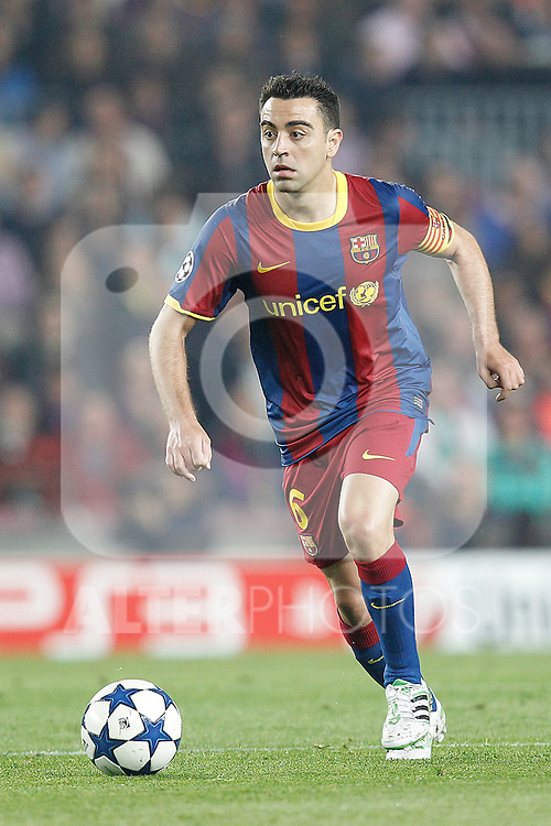 Barcelona's Xavi Hernandez during Champions League match on April, 6th 2011...Photo: Acero / Cebolla / ALFAQUI