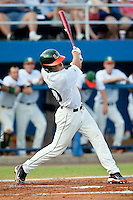 June 12, 2010:    Miami Outfielder Nathan Melendres (10) bats during game two of NCAA Gainesville Super Regional action between the University of Florida Gators and Miami Hurricanes at Alfred A. McKethan Stadium on the campus of University of Florida in Gainesville.   Florida defeated Miami in 10 innings 4-3 to advance to the College World Series in Omaha, Nebraska...........
