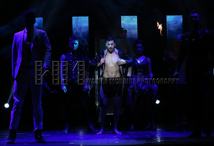 Andrew Basso and cast performing in a press preview of 'The Illusionists' at Mariott Marquis Theatre on December 2, 2014 in New York City.