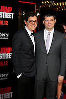 LOS ANGELES, CA - MAR 13: Phil Lord, Chris Miller at the premiere of Columbia Pictures '21 Jump Street' held at Grauman's Chinese Theater on March 13, 2012 in Los Angeles, California