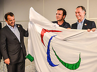 The governor Sergio Cabral, Mayor Eduardo Paes, the President of the Brazilian Olympic Committee, Carlos Arthur Nuzman, President of the Paralympic Committee, Andrew Parsonsna and Paralympic athlete Natalia at the press conference Arrival Paralympic flag, brought from London by Mayor Eduardo Paes, along with the entourage of Paralympic athletes at the Tom Jobim International Airport, Galleon, on Governor's Island, north of Rio de Janeiro. (PHOTO: MARCELO FONSECA / BRAZIL PHOTO PRESS).