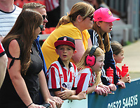 Lincoln City fans enjoy the pre-match atmosphere<br /> <br /> Photographer Andrew Vaughan/CameraSport<br /> <br /> The EFL Sky Bet League Two - Lincoln City v Tranmere Rovers - Monday 22nd April 2019 - Sincil Bank - Lincoln<br /> <br /> World Copyright © 2019 CameraSport. All rights reserved. 43 Linden Ave. Countesthorpe. Leicester. England. LE8 5PG - Tel: +44 (0) 116 277 4147 - admin@camerasport.com - www.camerasport.com