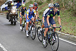 The breakaway group Daniel Moreno (ESP) Movistar Team, Stefan Denifl (AUT) Aqua Blue Sport, Julian Alaphilippe (FRA) Quick-Step Floors, Alessandro De Marchi (ITA) BMC, and Magnus Cort Nielsen (DeN) Orica-Scott in action during Stage 17 of the 2017 La Vuelta, running 180.5km from Villadiego to Los Machucos. Monumento Vaca Pasiega, Spain. 6th September 2017.<br /> Picture: Unipublic/&copy;photogomezsport | Cyclefile<br /> <br /> <br /> All photos usage must carry mandatory copyright credit (&copy; Cyclefile | Unipublic/&copy;photogomezsport)