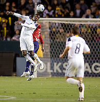 LA Galaxy forward Edson Buddle scores 2 goals on the evening here going high for a headball. The LA Galaxy defeated Chivas USA 2-0 during the Super Clasico at Home Depot Center stadium in Carson, California Thursday evening April 1, 2010.  .