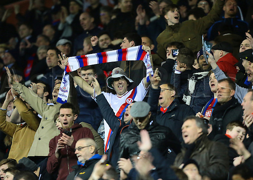 11.03.2016. Madejeski Stadium, Reading, England. Emirates FA Cup 6th Round. Reading versus Crystal Palace. Jubilant Crystal Palace sing at full time}