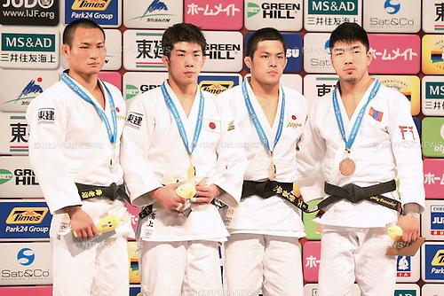 (L-R) Masashi Ebinuma, Tomofumi Takajyo, Kengo Takaichi (JPN), Tumurkhuleg Davaadorj (MGL), DECEMBER 4, 2015 - Judo : IJF Grand Slam Tokyo 2015 International Judo Tournament Men's -66kg Award Ceremony at Tokyo Metropolitan Gymnasium, Tokyo, Japan. (Photo by Sho Tamura/AFLO SPORT)