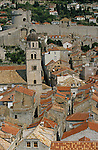 View on the roofs of old Dubrovnik from the remparts. . Croatia