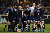 Calum Green of Newcastle Falcons and Matt Garvey of Bath Rugby get to know each other. Aviva Premiership match, between Newcastle Falcons and Bath Rugby on February 16, 2018 at Kingston Park in Newcastle upon Tyne, England. Photo by: Patrick Khachfe / Onside Images