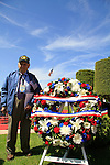 Normandy, WWII veteran Henry Hirschmann by the US Presidential wreath at the American Military Cemetery in Omaha Beach on the 70th Anniversary of D-DAY