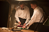 Phantom Thread (2017) <br /> Actor Daniel Day-Lewis (left) and writer/director Paul Thomas Anderson (right) discuss a scene on the set of<br /> *Filmstill - Editorial Use Only*<br /> CAP/KFS<br /> Image supplied by Capital Pictures