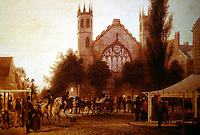 """New York:  Watercolor by  George Harvey, New York, 1837.  Broadway and Houston Street.  """"Night-Fall, St. Thomas's Church."""""""
