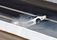 Jun 17, 2018; Bristol, TN, USA; NHRA pro mod driver Chad Green crashes into the wall during the Thunder Valley Nationals at Bristol Dragway. Mandatory Credit: Mark J. Rebilas-USA TODAY Sports