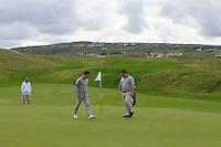 Gerard Dunne (Co. Louth) and Aaron Grant (Dundalk) on the 3rd green during Matchplay Round 1 of the South of Ireland Amateur Open Championship at LaHinch Golf Club on Friday 22nd July 2016.<br /> Picture:  Golffile | Thos Caffrey<br /> <br /> All photos usage must carry mandatory copyright credit   (© Golffile | Thos Caffrey)