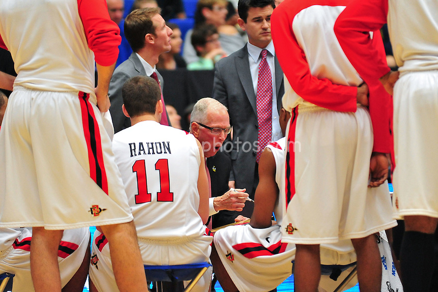 Mar 17, 2011; Tucson, AZ, USA; San Diego State Aztecs head coach Steve Fisher talks to his team in the second half of a game against the Northern Colorado Bears in the second round of the 2011 NCAA men's basketball tournament at the McKale Center. The Aztecs won 68-50.