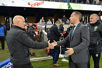 San Jose, CA - Saturday May 06, 2017: Dominic Kinnear, Caleb Porter after a Major League Soccer (MLS) match between the San Jose Earthquakes and the Portland Timbers at Avaya Stadium.