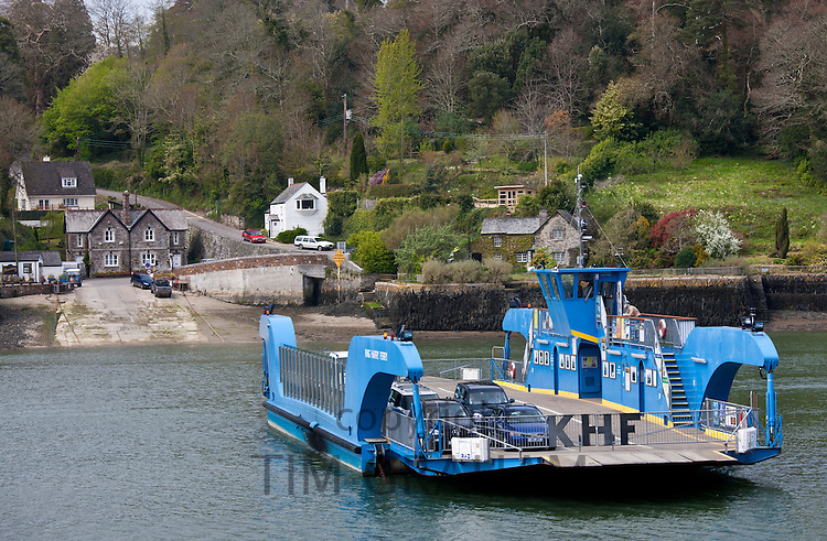 King Harry Ferry Bridge crossing the River Fal Estuary from St Mawes on the Roseland Peninsula to Feock, near Truro, Cornwall, UK