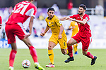 Massimo Luongo of Australia (C) battles for the ball with Anas Bani-Yaseen of Jordan (R) during the AFC Asian Cup UAE 2019 Group B match between Australia (AUS) and Jordan (JOR) at Hazza Bin Zayed Stadium on 06 January 2019 in Al Ain, United Arab Emirates. Photo by Marcio Rodrigo Machado / Power Sport Images