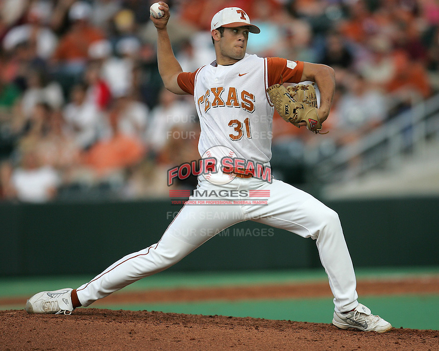 Texas Freshman Pitcher Chance Ruffin delivers against Texas A&M on May 16th, 2008 in Austin Texas. Photo by Andrew Woolley / Four Seam Images..
