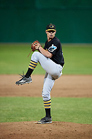 West Virginia Black Bears relief pitcher Logan Stoelke (32) delivers a pitch during a game against the Batavia Muckdogs on June 19, 2018 at Dwyer Stadium in Batavia, New York.  West Virginia defeated Batavia 7-6.  (Mike Janes/Four Seam Images)