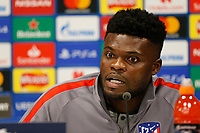 10th March 2020; Anfield, Liverpool, Merseyside, England; UEFA Champions League, Liverpool versus Atletico Madrid, Atletico Press Conference; Thomas Partey of Atletico speaking to the media during today's press conference at Anfield ahead of tomorrow's Champions League match against Liverpool