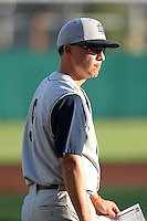 Manager Mik Aoki #9 of the Notre Dame Fighting Irish during the Big East-Big Ten Challenge vs. the Purdue Boilermakers at Al Lang Field in St. Petersburg, Florida;  February 19, 2011.  Notre Dame defeated Purdue 19-2.  Photo By Mike Janes/Four Seam Images