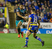 2nd February 2019, Halliwell Jones Stadium, Warrington, England; Betfred Super League rugby, Warrington Wolves versus Leeds Rhinos; Kallum Watkins flying through the air to catch and run in open space