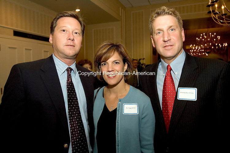 SOUTHBURY, CT-11 SEPTEMBER 2006-091106JS06-Attorney Mark Baldwin of Brown Rudnick, left with Peggy Anthony and Attorney Bob Anthony, also of Brown Rudnick at the Saint Mary's Hospital Foundation 2006 Dinner of Champions held at the Crowne Plaza in Southbury. . -Jim Shannon Republican-American