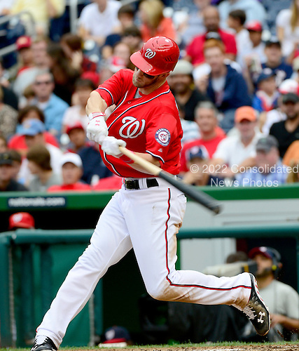Washington Nationals center fielder Bryce Harper (34) homers in the fifth inning against the New York Mets at Nationals Park in Washington, D.C. on Sunday, August 19, 2012.   The Nationals won 5 - 2..Credit: Ron Sachs / CNP.(RESTRICTION: NO New York or New Jersey Newspapers or newspapers within a 75 mile radius of New York City)