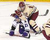 Brett Lubanski (HC - 21), Ryan Fitzgerald (BC - 19) - The visiting College of the Holy Cross Crusaders defeated the Boston College Eagles 5-4 on Friday, November 29, 2013, at Kelley Rink in Conte Forum in Chestnut Hill, Massachusetts.