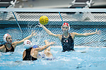 INDIANAPOLIS, IN - MAY 14: Gabby Stone (1) and Jordan Raney (7) of Stanford University defend during the Division I Women's Water Polo Championship against UCLA held at the IU Natatorium-IUPUI Campus on May 14, 2017 in Indianapolis, Indiana. (Photo by Joe Robbins/NCAA Photos/NCAA Photos via Getty Images)