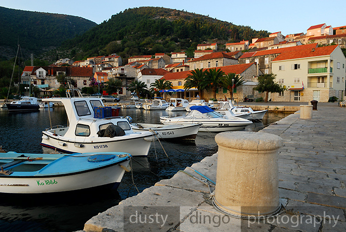 View of harbour, village of Racisce, island of  Korcula, Croatia