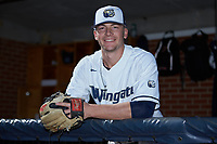 Wingate Bulldogs relief pitcher Alex Rodriguez (22) poses for a photo prior to the game against the Concord Mountain Lions at Ron Christopher Stadium on February 2, 2020 in Wingate, North Carolina. The Mountain Lions defeated the Bulldogs 12-11. (Brian Westerholt/Four Seam Images)