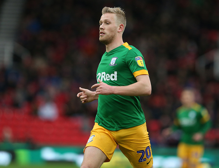 Preston North End's Jayden Stockley<br /> <br /> Photographer Stephen White/CameraSport<br /> <br /> The EFL Sky Bet Championship - Stoke City v Preston North End - Saturday 26th January 2019 - bet365 Stadium - Stoke-on-Trent<br /> <br /> World Copyright © 2019 CameraSport. All rights reserved. 43 Linden Ave. Countesthorpe. Leicester. England. LE8 5PG - Tel: +44 (0) 116 277 4147 - admin@camerasport.com - www.camerasport.com