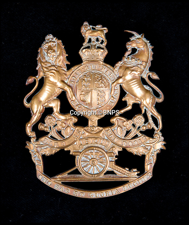 BNPS.co.uk (01202 558833)<br /> Pic: TomWren/BNPS<br /> <br /> Royal Regiment of Artillery cloth helmet plate 1878.<br /> <br /> A stunning collection of military badges amassed by one man has been unearthed to remember the lost regiments of the British Army.<br /> <br /> More than 800 brass badges recovered from old pith helmets, peaked caps and military tunics were amassed by the late collector over a lifetime.<br /> <br /> Many of the insignia date back to the Victorian era and represent regiments which no longer exist or which have been amalgamated, having either been decimated in the First World War or wiped out by government cuts.<br /> <br /> The collection is being sold by Charterhouse Auctioneers of Dorset.