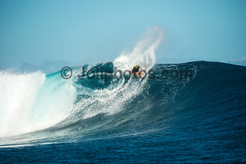 CLOUDBREAK, Namotu Island/Fiji (Wednesday, June 12, 2013) Mick Fanning (AUS)  who came 2nd today. - Kelly Slater (USA), 41, has won the Volcom Fiji Pro for the second consecutive year, defeating Mick Fanning (AUS), 31, in solid six-to-eight foot (2 metre) waves at Cloudbreak.<br /> <br /> Stop No. 4 of 10 on the ASP World Championship Tour (WCT), the Volcom Fiji Pro saw several days of world-class surf at both Restaurants and Cloudbreak and saw a series of mixed results from the ASP Top 34 that shook up the current rankings in the race for the ASP World Title.<br /> <br /> Slater built momentum throughout the Volcom Fiji Pro, peaking on the final day of competition. Slater's road to victory included a perfect 20-point heat against Sebastian Zeitz (HAW), 25, in the Quarterfinals, a victory over John John Florence (HAW), 20, in the Semifinals, culminating with a win over Fanning in the Volcom Fiji Pro title.<br /> <br /> Slater's win vaults him to No. 1 on the rankings, putting him in contention for a historic 12th ASP World Title. Mick Fanning moves to second on the ratings and in the running for a third World Title.<br /> Photo: joliphotos.com