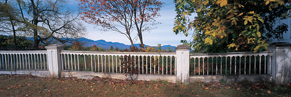 Country fence in Sandwich, New Hampshire, frames Mt.Chocorua and rthe Sandwich Range. Photograph by Peter E. Randall.